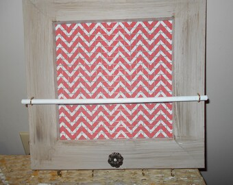 Chevron jewelry wall organizer in Pink and White Chevron with ring/bracelet bar
