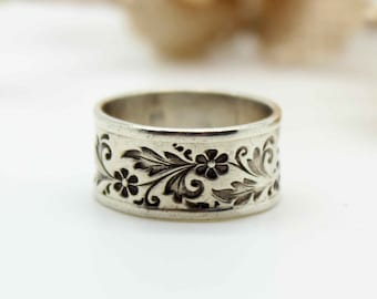 Lovely Vintage Sterling Silver WIDE Band Ring-Flowers-Leaves-Elegant-Size 7.25