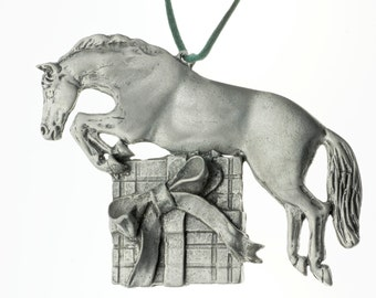 Pewter Horse Jumping Present Equestrian Christmas Ornament
