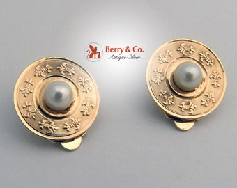 Vintage 14 K Yellow Gold Engine Turned Ear Clips