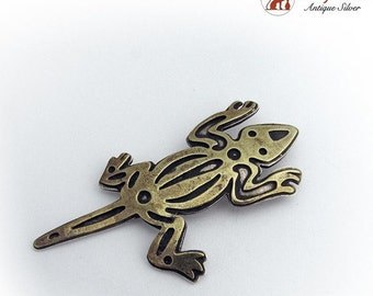 SaLe! sALe! Vintage Hand Made Lizard Brooch Pin Sterling Silver and Brass 1980s