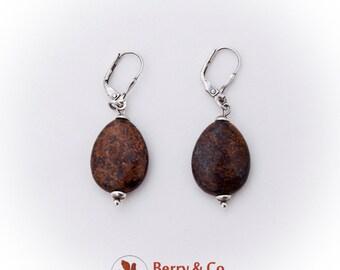 Oval Lionskin Stone Drop Earrings Sterling Silver