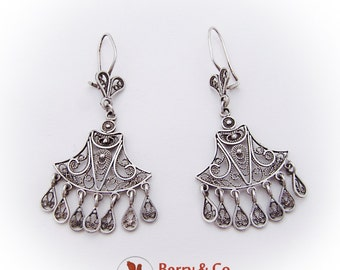 Ornate Filigree Dangle Earrings Sterling Silver
