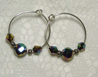 "Cynthia Lynn ""PRISM"" Metallic Multi-Color Glass Bead Silver Plated Hoop Earrings .75"""