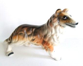 Vintage Collie Figurine, Rough Collie Statue, Lassie Decor, Japan Dog Figurine, Collie Dog Figurine