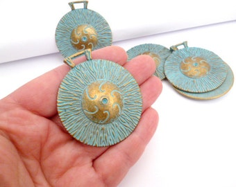 Brass Aged Patina Charm Pendant_PA06564502_Filigree Tibetan Charm _of 43mm_1/14in_2 pcs