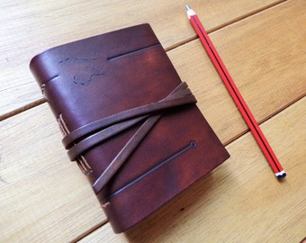 Leather notebook. Leather journal. Leather book A7. Sketchbook. Blank book. Lether dark brown. 4,3x3,3 inches (11x8 cm).