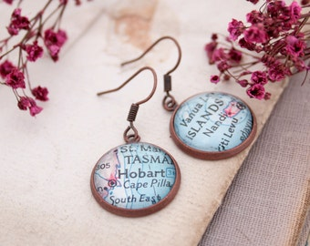 Personalized Earrings/ Custom Jewellery/ Map Dangle Earrings/ Custom Earings/ Personalized Gifts Copper Anniversary Gifts Jewelry Earings