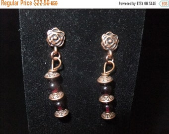 ON SALE Copper & Garnet Earrings