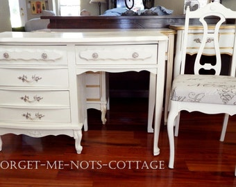 CUSTOM PAINTED Vintage Shabby Chic Cottage French Provincial Desk/ Vanity