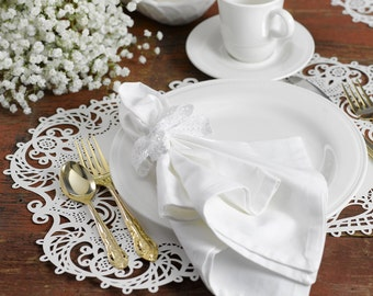 Placemats | White Shimmer Lace Paper Placemats Laser Cut Design For Weddings, Holiday Gatherings Or Other Occasion. Set Of 12 Placemats