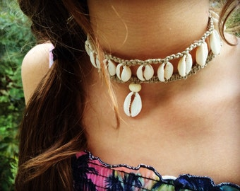 Handmade Hemp Shell Necklace with Cowrie Shells, Bohemian Gypsy