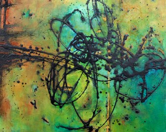 original abstract painting large modern art blue green yellow orange acrylic Leah Fitts Entangled