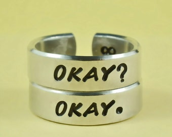 OKAY? OKAY. - Hand Stamped Aluminum Cuff Ring Set, Personalized Inspirational Gift, Lovers Rings, Couples Rings