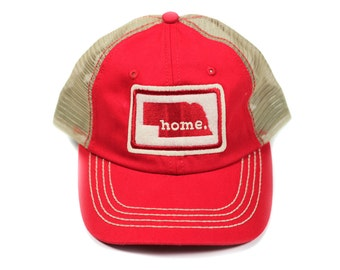 All 50 States Available: Home State Apparel Trucker Cap - Red w/Red Stitching