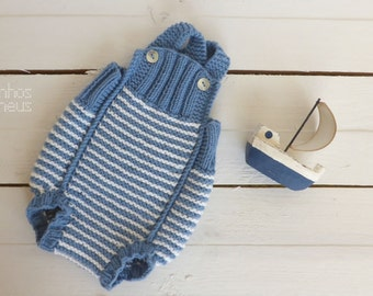Knit baby romper - white stripes - newborn prop - baby knit - photo props - newborn pants
