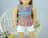 American Girl or 18 Inch Doll TANK TEE Top Shirt in Purple Turquoise Floral Print with Surprise NECKLACE and Shorts Sandals Options