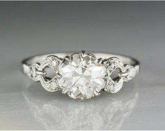 Antique 1910s-1920s Edwardian Engagement Ring with 1.65 Carat Old European Cut Diamond Center R719