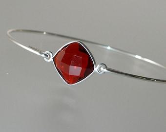 Red Garnet Silver Bangle Bracelet, Gemstone Bracelet, Gemstone Bangle, Bezel Set Garnet (Gm290S)