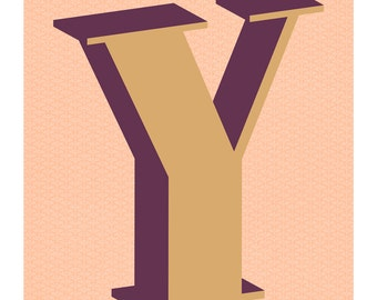 The Letter Y, Original Giclee Art Print, Typography, Alphabet, Monogram, Purple, Gold, Pink