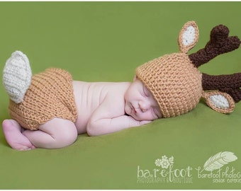 Deer hat, deer set, diaper cover, hunting prop, crochet photo prop, newborn prop, animal prop, white tailed deer, Children's photo prop