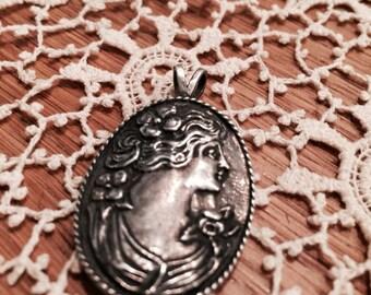 Art Nouveau Sterling Silver Woman Flower Pendant