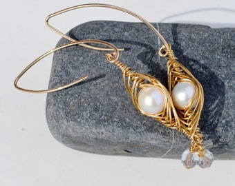 Elegant Gold Wrapped Pearl Earrings - Long Pearl Dangle Statement Earrings - Modern Bridal Jewelry - Bridesmaid Gift - Wedding Jewelry