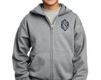 Monogrammed Children's Full-Zip Hooded Sweatshirt | Multiple Colors