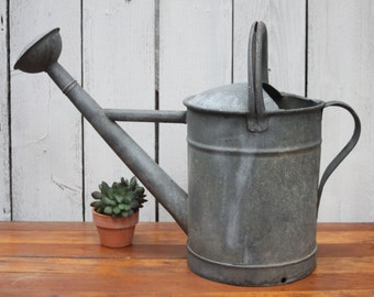 Vintage Galvanized Watering Can / 10 Gallon Can