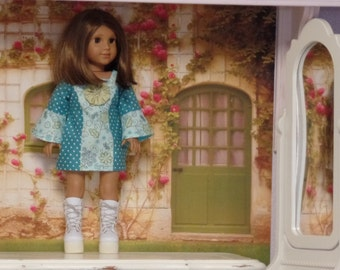 """Good Vibrations 60s Dress--for 18"""" Dolls--Shown on my American Girl Doll Kit"""