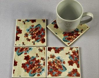 Impressionist Flowers Tile Coasters