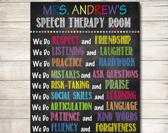 Speech Therapist, Communications Language Printable Classroom Rules Poster, Custom Teacher Sign, Classroom Decor, Speech Therapist, SLP Sign