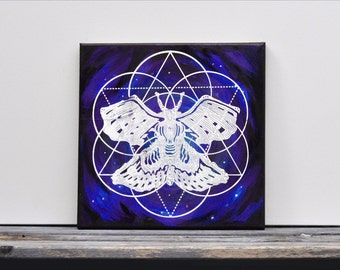 "Galaxy Moth Mixed Media Painting  12"" x 12"""