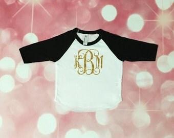 BIG Monogram Raglan, toddler girl, baby girl, monogram, southern, southern sass, glitter mononogram