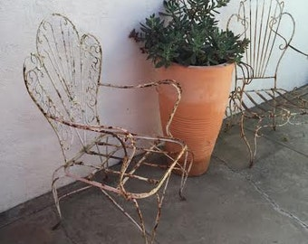 Two Vintage Wrought Iron Patio Chairs