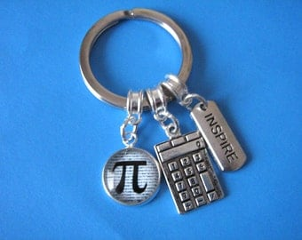 Maths Teacher Gift Math Keychain Pi Keyring Calculator Charm