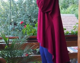 Asymmetric Knitted Over-sized Tunic Long Sleeve Cotton Tunic Turtleneck Tunic & Nara TRP003