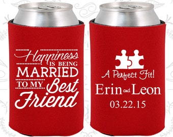 Happiness is Being Married to my Best Friend, Wedding Gift Ideas, A Perfect Fit, Puzzle, Romantic Wedding Gift, Wedding Beer Coolie (512)