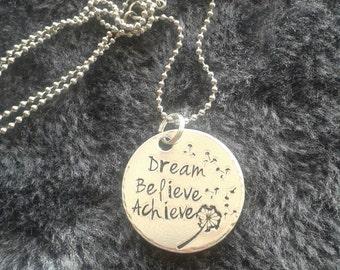 "Stunning necklace ""dream , believe, achieve"" great for bridesmaids/ flower girls"