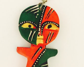 African Tribal Mask Key Chain from Kenya- Bone African Tribal Mask Key Chain From Kenya- Beaded Key Chain From Kenya