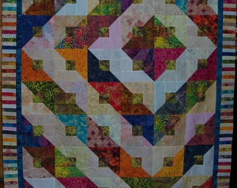 Amazing batik patchwork quilt top