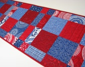 Patriotic Americana Quilted Table Runner, Quilted Patchwork Table Runner, Red White Blue Table Runner, Quiltsy Handmade
