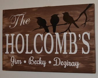 Personalized Bird wooden Sign