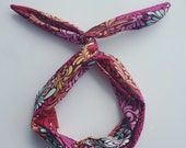 Wire Headband- Pink Floral