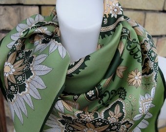 Vintage light green brown abstract print square polyester scarf from 80's.