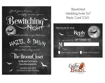 Bewitching Halloween Wedding Invitation & Reply Card DIY Printable
