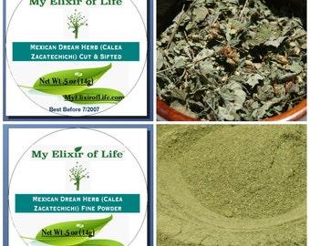 Dream Herb Sampler-Cut & Sifted and Fine Powdered (Calea Zacatechichi) 1/2 oz Tins