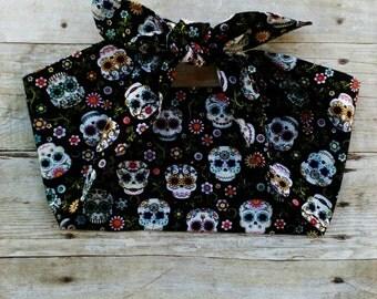 Extra wide sugar skull headband bandana knot hair tie retro rockabilly style made by FlyBowZ