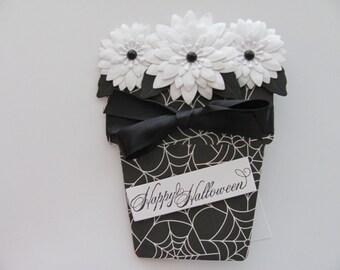 Happy Halloween Card, Halloween Flower Pot Card, Spider Web, Halloween, White Flowers