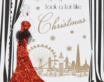 Christmas Glitter Cards Gatsby Woman